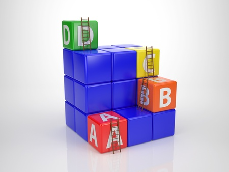 Tower out of Letter Dices - Reach your Goal photo