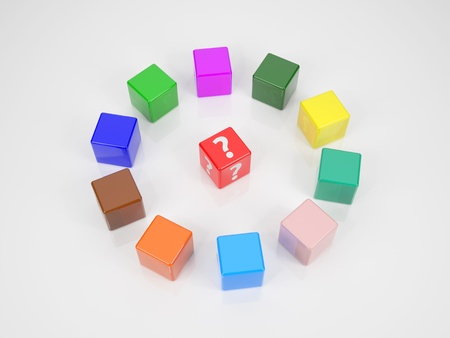 A Red Cube With Question Mark In Center Of Several Colored Cubes