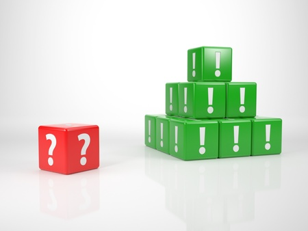 Red Cube With Question Mark In Front Of A Tower Of Cubes With