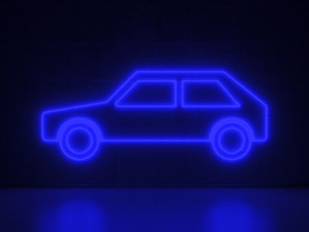 A blue Neon Sign in Form of a Car on a Wall of Concrete photo