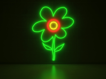 A red, green and yellow Neon Sign in Form of a Flower on a Wall of Concrete photo