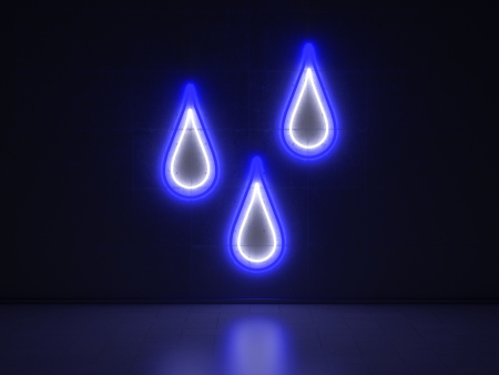 A white and blue Neon Sign in Form of Raindrops on a Wall of Concrete photo