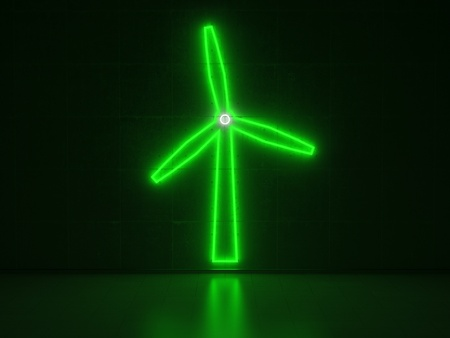 A green and white Neon Sign in Form of a Windmill on a Wall of Concrete photo