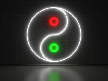 A red, green and white Neon Sign in Form of a Yin Yang Sign on a Wall of Concrete photo