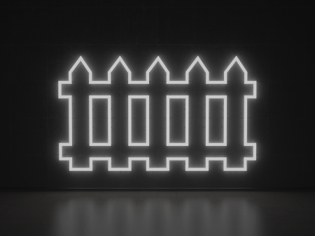 neighbourhood: A white Neon Sign in Form of a Fence on a Wall of Concrete