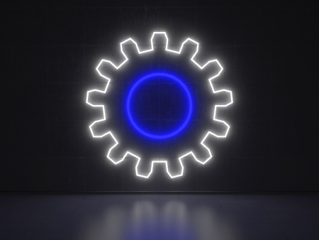 A blue and white Neon Sign in Form of a Gear Cogwheel on a Wall of Concrete photo