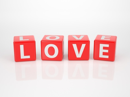 parship: The Word Love out of Red Letter Dices  Stock Photo