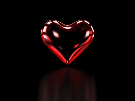 parship: Heart of red Glass on black Background