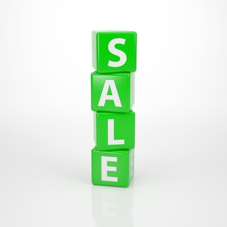 trustworthy: The Word Sale out of towered green Letter Dices Stock Photo