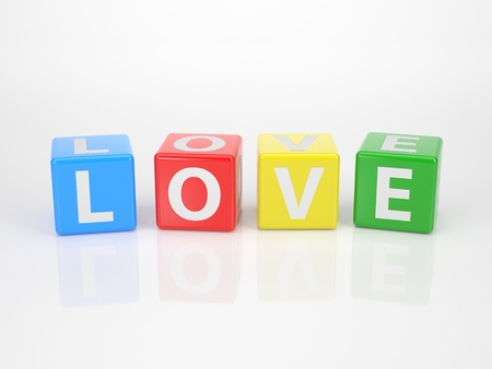 The Word Love out of multicolored Letter Dices photo