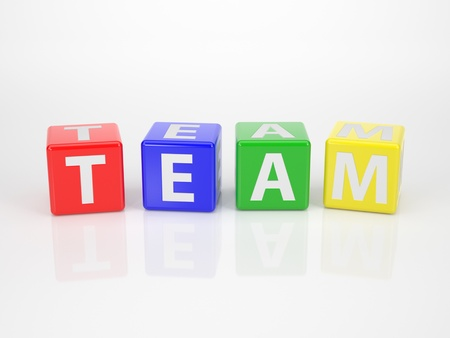 The Word Team out of multicolored Letter Dices photo