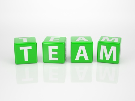trustworthy: The Word Team out of green Letter Dices Stock Photo