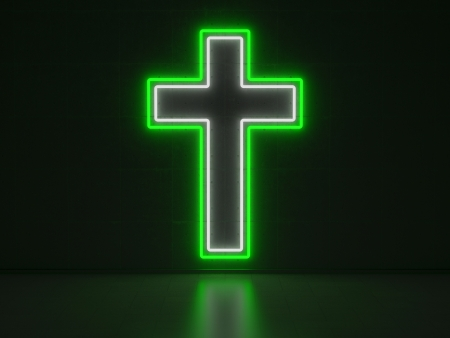 A green and white Neon Sign in Form of a Christian Cross on a Wall of Concrete photo