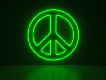 woodstock: A green Neon Sign in Form of the Peace Symbol on a Wall of Concrete
