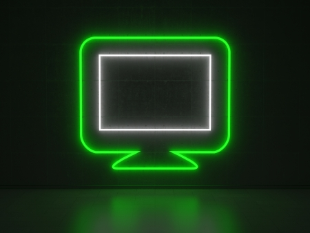 A green and white Neon Sign in Form of a Screen on a Wall of Concrete photo