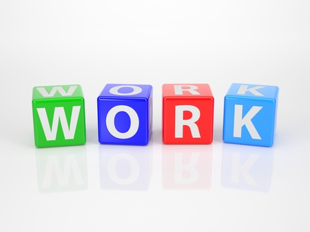 work out: The Word Work out of multicolored Letter Dices Stock Photo
