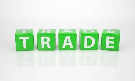 The Word Trade out of green Letter Dices photo