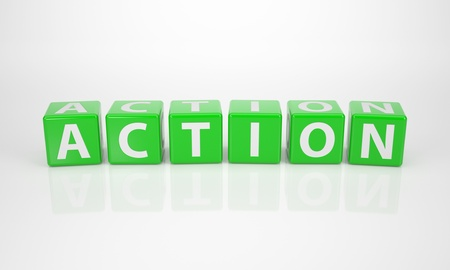 consult: The Word Action out of green Letter Dices