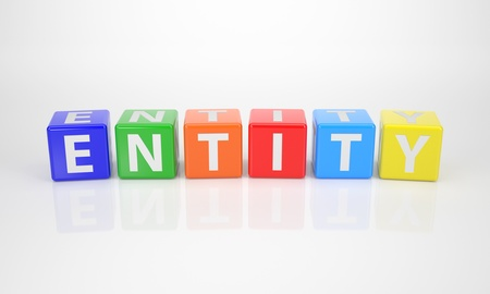entity: The Word Entity out of multicolored Letter Dices Stock Photo
