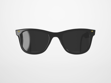 isolated: Black Sunglasses on a bright Background with Reflection and Transparency
