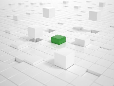 building lot: A lot of white Cubes matching together and building a Platform with a green Cube in Center Stock Photo