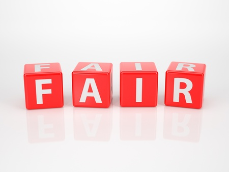 accused: The Word Fair out of red Letter Dices Stock Photo