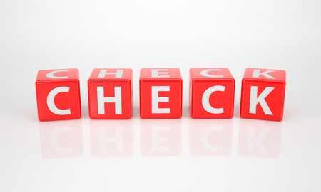 check out: The Word Check out of red Letter Dices Stock Photo