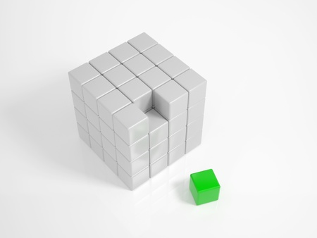 Green Cube is the missing piece of a puzzle photo