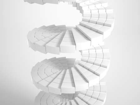 White circular stairway out of many pieces photo