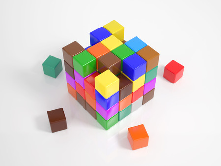 Many colorful small cubes building a big cube photo
