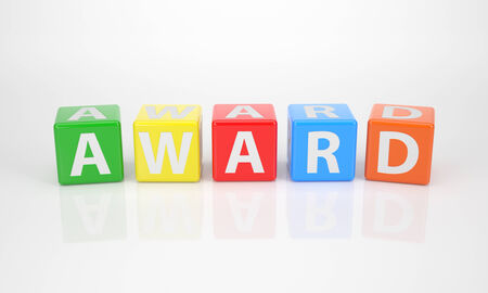 The Word Award out of multicolored Letter Dices photo