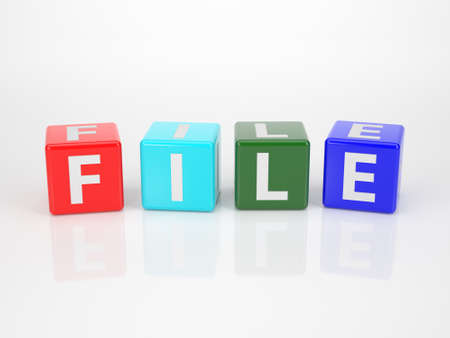 The Word File out of multicolored Letter Dices photo