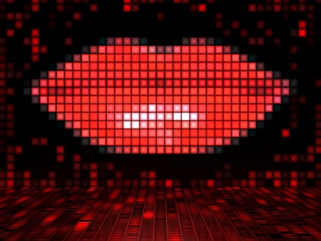 Red Lips made out of Lightcubes photo