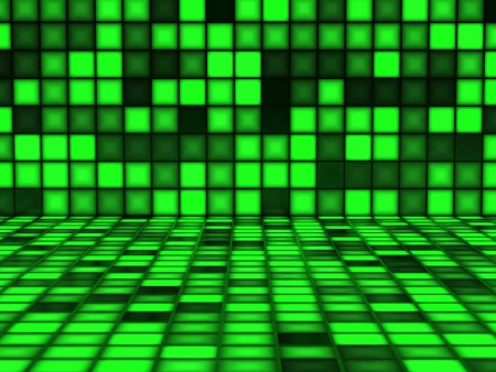 Green pattern made out of Light Cubes photo