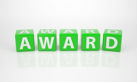 The Word Award out of green Letter Dices photo