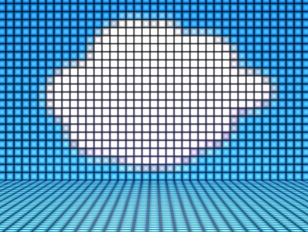 A Comic Cloud on blue Background made out of Light Cubes