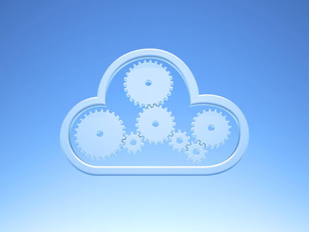A Metallic Cloud Computing Icon on blue Sky photo