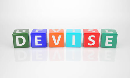 The Word Device out of multicolored Letter Dices Stock Photo
