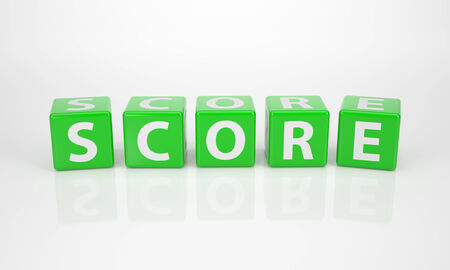 The Word Score out of green Letter Dices photo
