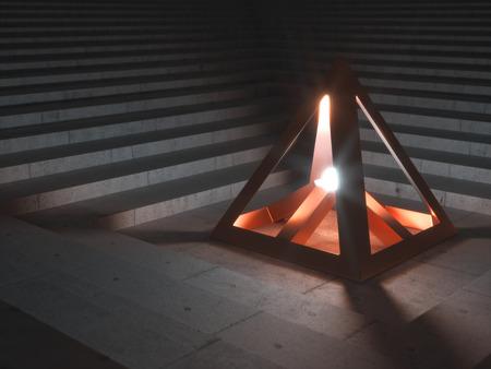 artifact: Metallic Artifact sending out bright Light illuminating a Stairway