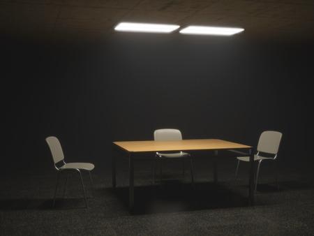 Dunkle Vernehmungszimmer mit Stühlen und Tisch eine beunruhigende Situation Standard-Bild - 26628756