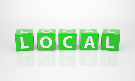 The Word Local out of green Letter Dices photo