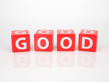 The Word Good out of red Letter Dices photo