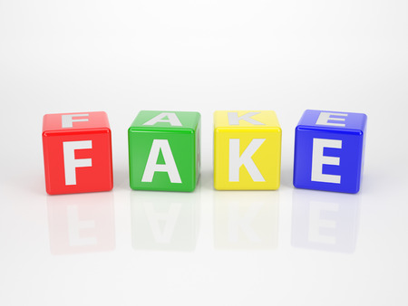 fraudster: La parola finto fuori della lettera multicolore dices su sfondo bianco Archivio Fotografico