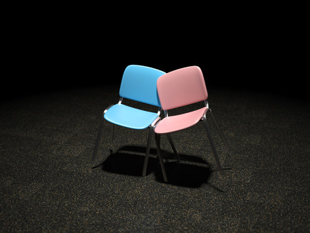 A blue and pink chair bright illuminated leaning against each other symbol for love and relationship photo