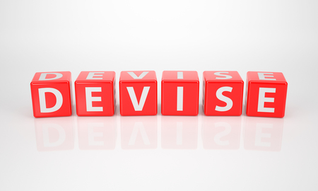 The word devise out of red letter dices on white photo