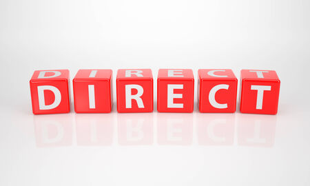 strategic position: The Word Direct out of red Letter Dices on white background