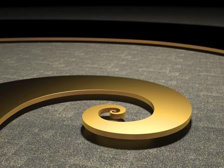 Golden Fibonacci Spiral bright illuminated symbol for nature science and discovery Stock Photo