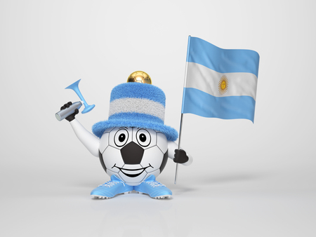A cute and funny soccer character holding the national flag of Argentina and a horn dressed in the colors of Argentina on bright background supporting his team