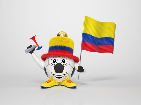 A cute and funny soccer character holding the national flag of Colombia and a horn dressed in the colors of Colombia on bright background supporting his team Stock Photo